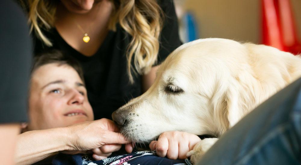 Ein Therapiehund legt seinen Kopf sanft auf eine Betreute ©Helfende Hände/Fabian Helmich