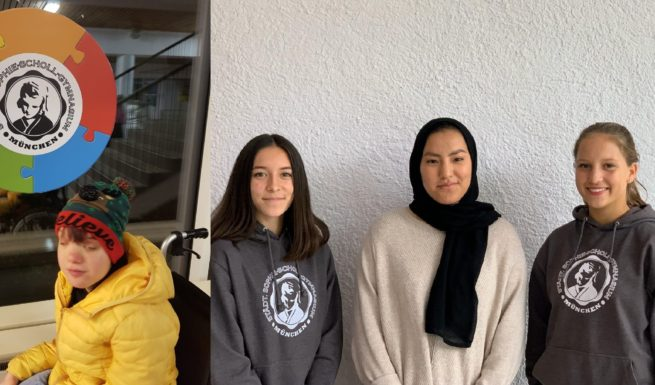 Tanja von Helfende Hände mit Jana, Nargez und Clara-Marie beim Treffen im Sophie-Scholl-Gymnasium in Schwabing. Foto: privat