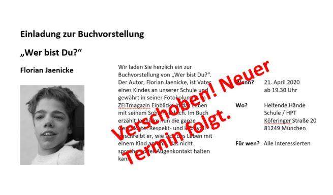 Verschoben: Einladung zur Buchvorstellung von Florian Jaenicke