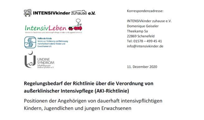 Briefkopf des Positionspapiers zur AKI-Richtlinie