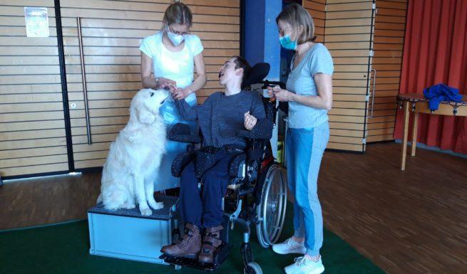 Drei Personen stehen um Therapiehund Luna und streicheln sie.
